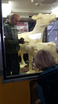 this man was the one that carved the butter into the cow shapes
