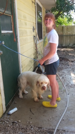 Washing dogs for hours
