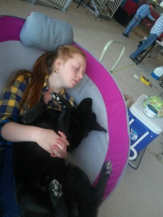 taking a nap with q at the davie show